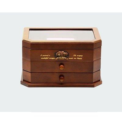5Cgo【鴿樓】會員有優惠  44801139675 歐式奢華首飾盒實木質歐式公主韓國複古珠寶首飾收納盒木質三層