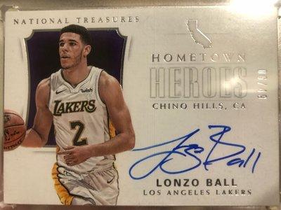 2017-18 National treasures lonzo ball rc hometown hero /49 國寶新人簽 最值得收藏
