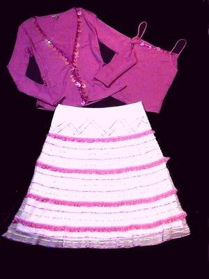 ENGLILY~專櫃設計師品牌~兩件式桃紅亮片上衣  M