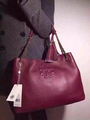 Alina精品代購 TORY BURCH 美國輕奢時尚 新款雙流蘇購物包 酒紅手提包 肩背包 美國代購