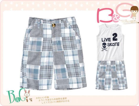 【B& G童裝】正品美國進口GYMBOREE Patchwork Short拼布藍色短褲6,7yrs