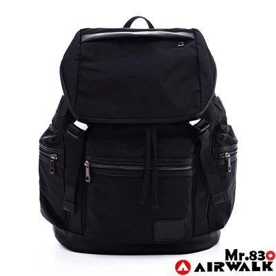 『Mr830』AirWalk時尚金屬插釦掀蓋式防潑水大容量束口後背包/綁帶/水桶包/大後背:黑色