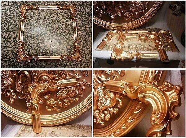 PU浮雕平線板 裝飾鏡框框邊 佈告欄修飾 門框 衣櫃框 門框飾條 套組 (金色)