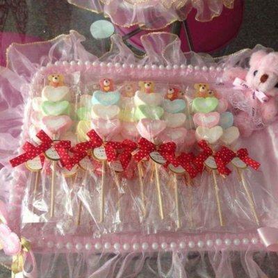 @妮妮喜糖店鋪@婚禮~喜糖~送客禮~小朋友慶生~金莎花棒~麥芽餅~寶貝熊愛您棉花糖