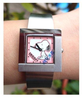 【卡漫迷】 六折 出清 史奴比 方鏡 手錶 二款選一 ㊣版 史努比 女錶 手鍊 方形 Snoopy 不鏽鋼 手環式