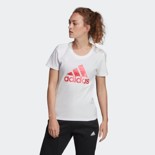 南 2019 10月adidas BADGE OF SPORT METALLIC FM944 白粉 LOGO 短T 女