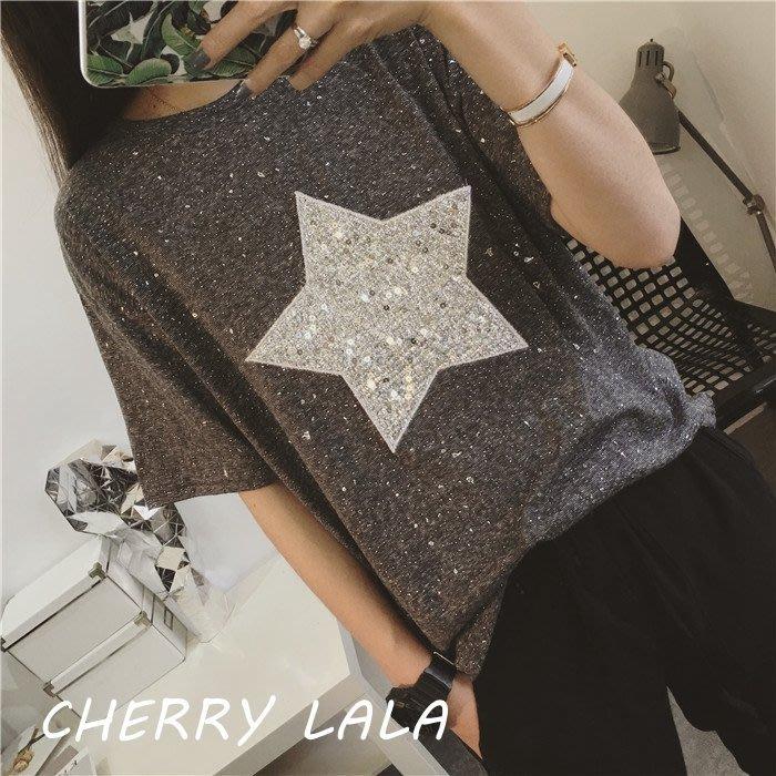CHERRY LALA 韓國單實拍閃亮bling大五角星寬鬆短袖棉T-灰 J05123  韓妮 dobe