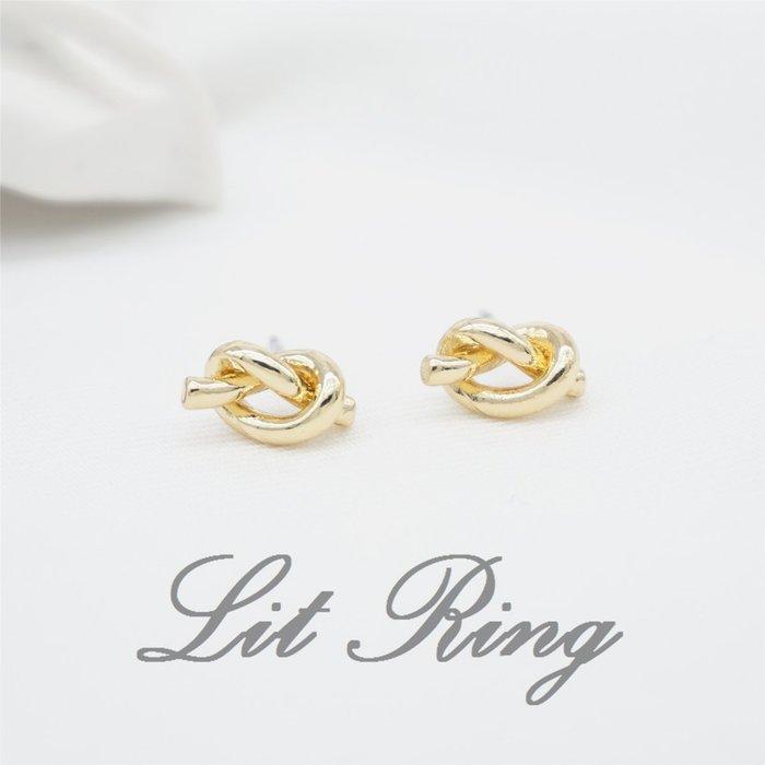~Lit Ring~金色簡約打結耳環~ 氣質 迷你 繩結 鏤空 打結 編織 扭結 貼耳式