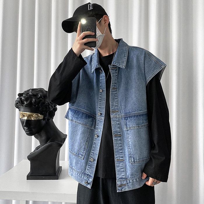 拉風閣 復古做舊大口袋牛仔馬甲 牛仔背心 秋季港風ins潮流 外套上衣 2020 男生衣著