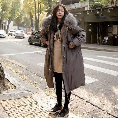 連帽外套 長版夾克-舖棉大毛領加厚寬鬆女外套3色73wd38[獨家進口][米蘭精品]