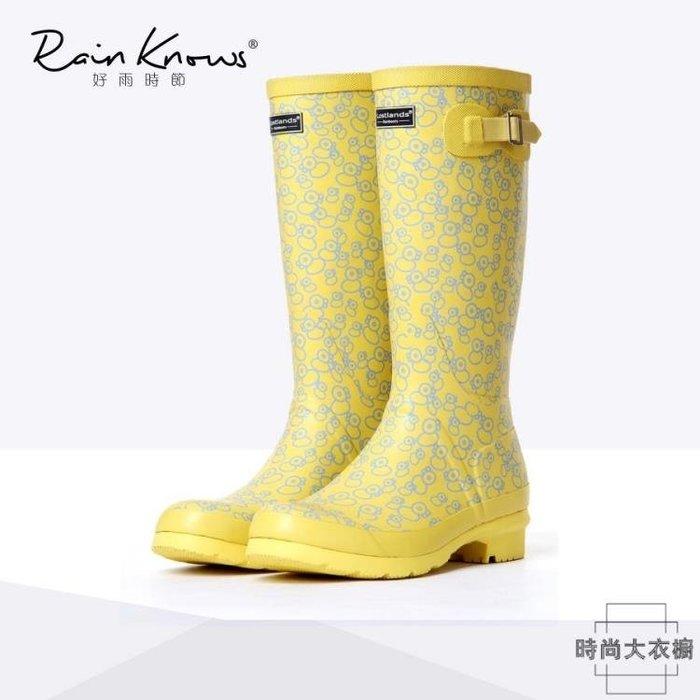 女式雨鞋高筒水鞋高幫橡膠雨靴雨鞋 『花開物語』
