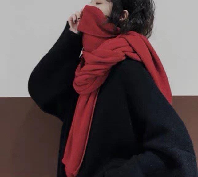 【鳳眼夫人】獨家自製款 定染11色 加長加寬加厚簡約純色時尚造型必備羊絨混紡棉線針織超軟保暖圍巾 男女通用 情侶款閨密款