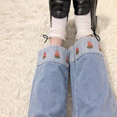牛仔褲 牛仔褲女春裝學生寬鬆韓版草莓刺...