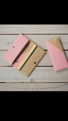 Pinkoi CFH 2016賣家手製 輕帆布長夾 粉色+土黃色