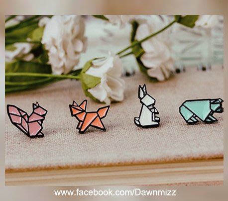 正韓幾何拼接可愛小動物糖果烤漆黑框耳環‧鋼針抗過敏飾品‧米絲小姐玩時尚