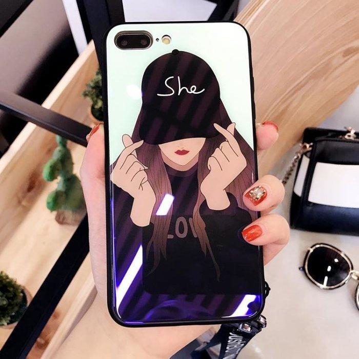 iphone7手機殼玻璃鏡面日韓蘋果6splus情侶x潮8plus帶掛繩