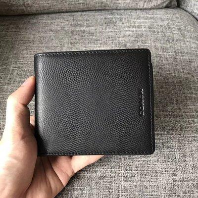 完美精品代購 COACH 74771 新款男士十字紋牛皮防刮皮夾 錢包 內置零錢袋 多卡位 附代購憑證