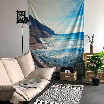 掛毯 掛布 海邊風景ins掛布背景布民宿墻面裝飾出租房改造布藝掛毯大