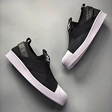 D-BOX  ADIDAS SUPERSTAR SLIP ON W 一腳蹬 懶人鞋 貝殼頭 黑色 S81337