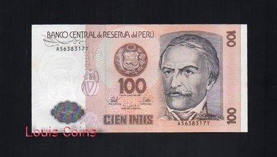 【Louis Coins】B128-PERU--1985 & 1986祕魯紙幣100 Intis