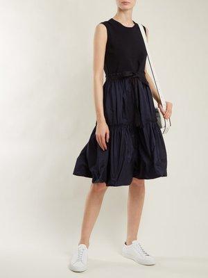 MONCLER  Abito gathered cotton-blend dress洋裝