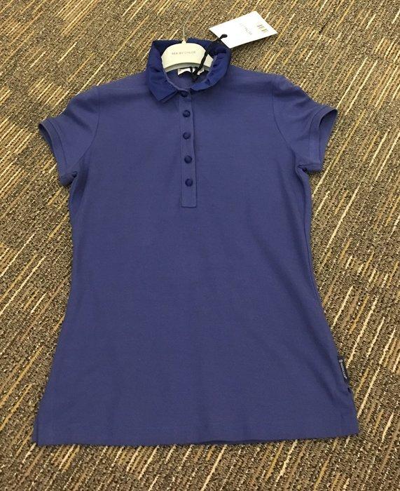 喬瑟芬【MONCLER】夏季出清特價$6500~2012春夏藍紫荷葉滾邊立領 棉質網眼POLO衫