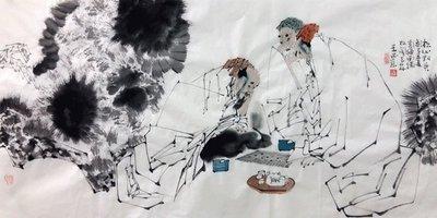 手繪 王西京 國畫人物 高仕 四尺