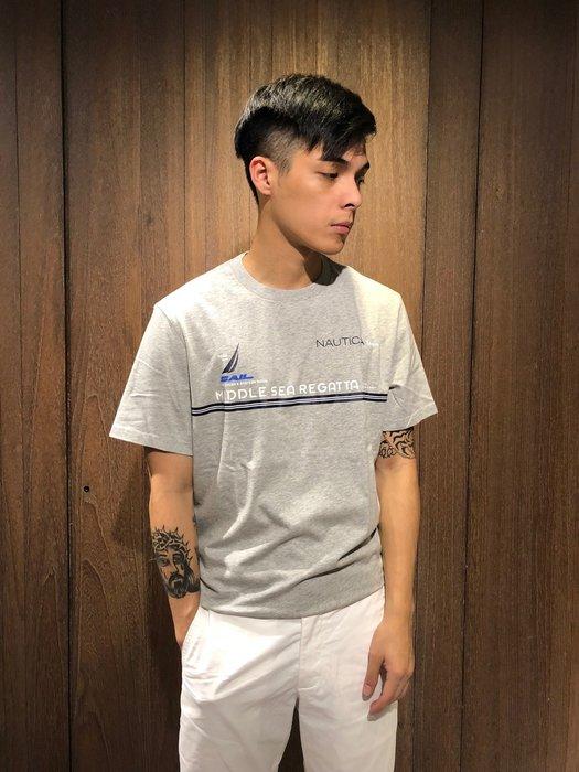 美國百分百【全新真品】 Nautica T恤 帆船牌 T-SHIRT 上衣 短袖 圖案 男款 線條 LOGO AN75