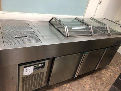【見康食品】二手A6厚板訂製豪華雙壓縮機選料沙拉吧冰箱(冷藏/水槽)(另售刨冰機、雪花粉、仙草粉、芋圓預拌粉、加盟連鎖)