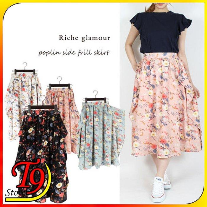 【T9store】日本進口 普普絲花邊印花邊褶邊裙