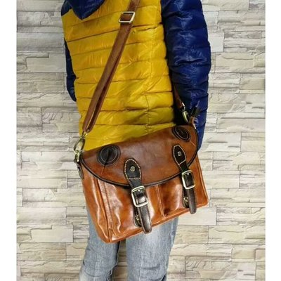 『老兵牛仔』LB-0321時尚簡約牛皮單肩包/頭層牛皮/復古/彈力/耐拉/個性