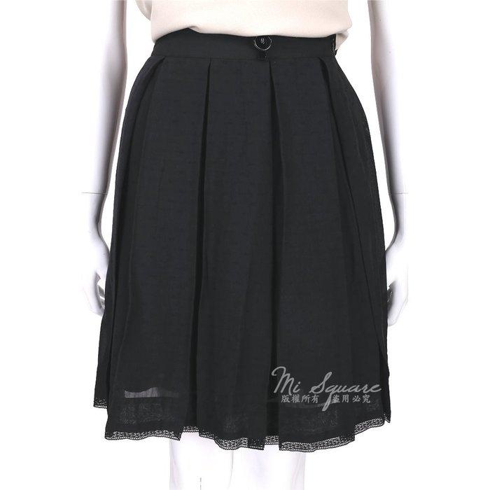 米蘭廣場 CLASS roberto cavalli 黑色蕾絲滾邊抓褶及膝裙 1520577-01