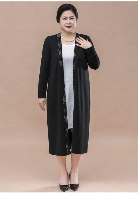 C275B 黑色中長款V領針織衫均碼55-100公斤秋冬婆婆裝媽媽裝風衣女裝外套大尺碼大碼超大尺碼
