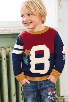 英國Next童裝 全新正品 男童帥氣針織毛衣  紅/深藍配色星星款 3-4Y