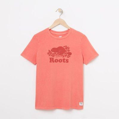 美國百分百【全新真品】Roots 加拿大 海貍 經典 棉質 短袖 T-shirt T恤 logo 粉紅 女款 I978