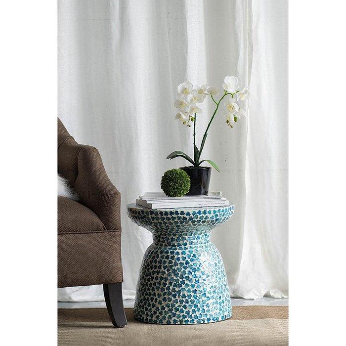 法式餐桌藝術 復古天然藍色珍珠貝殼 手工製 小桌 茶几