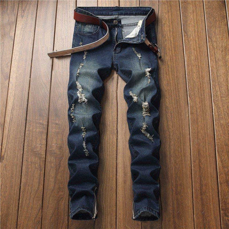 歐美時尚男破洞做舊修身直筒牛仔褲 F新ashionable 新men jeans pantsSAF5486485