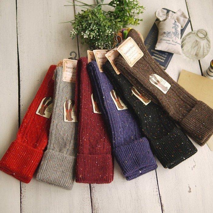 嘉芸的店 日本混羊毛拚色長統襪 日本及膝襪 彩色點點豎條紋日本毛襪 羊毛堆堆襪 女士長襪