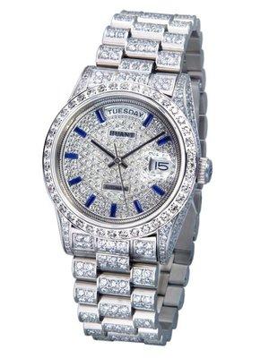 HUANT  WATCH (瑞士自動上鍊eta機蕊)勞力士款高級滿天星精鑽對腕錶  (神梭鐘錶)