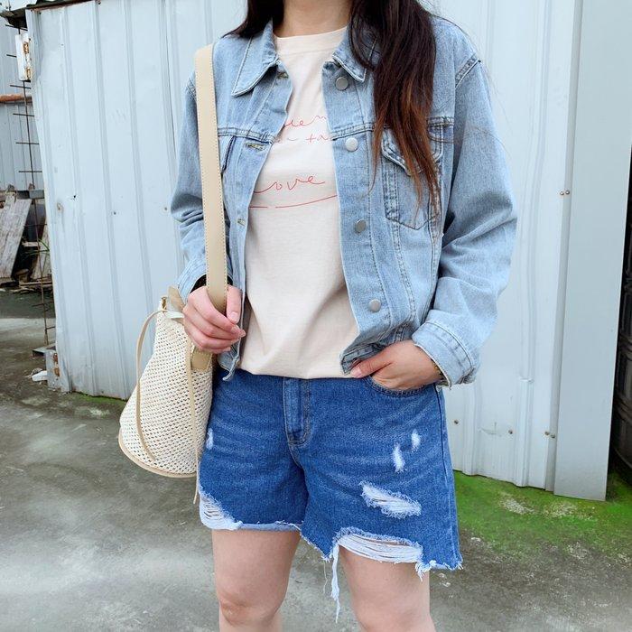 正韓【Meet Shop】Aug-22 個性破損設計牛仔丹寧短褲 棉花糖女孩 淺藍/深藍 XL 2L