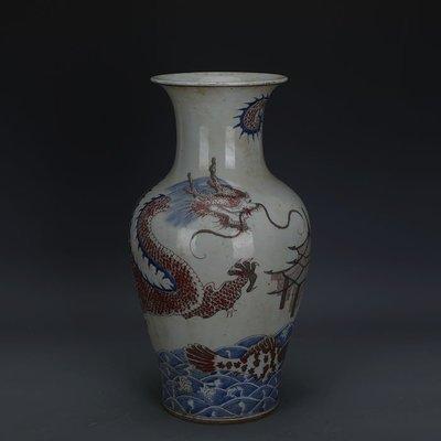 ㊣姥姥的寶藏㊣ 大清乾隆青花釉里紅鯉魚跳龍門魚尾瓶  手工仿古瓷古玩古董收藏