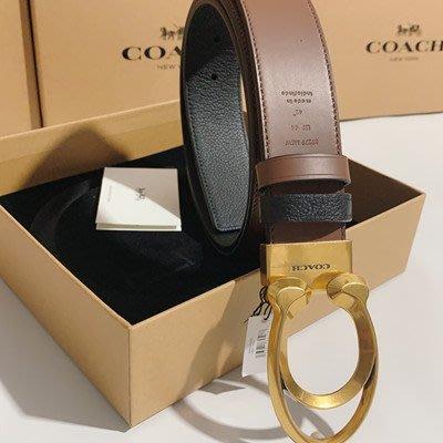 【八妹精品】COACH 89279 新款男士雙C款扣頭牛皮材質 雙面使用皮帶 腰帶 可自由裁剪