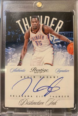 KEVIN DURANT 2012-13 Panini Prestige Distinctive Ink Autograph on card