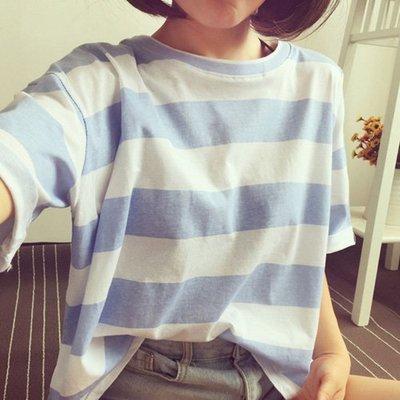 拼接雙色寬鬆圓領T恤 條紋T恤 艾爾莎  【TAE7689】
