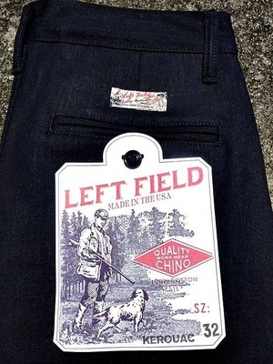 美國製手工Left Field Cone Mills Indigo Selvedge Kerouac Chino Raw