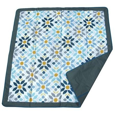 【魔法世界】美國 JJ Cole Essentials Blanket 外出攜帶防水野餐墊/戶外遊戲墊/防水墊(藍花)