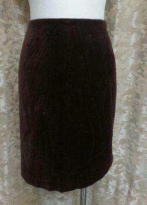 ~麗麗ㄉ大碼舖~大尺寸#12(32吋)咖啡色棉絨後拉鍊式短裙~
