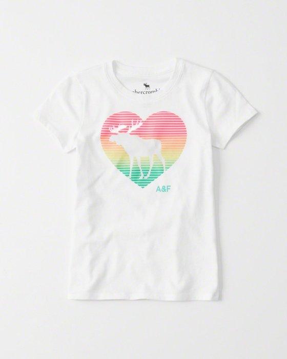 美國百分百【Abercrombie & Fitch】T恤 AF 短袖 T-shirt  麋鹿 愛心 女 白色 I117