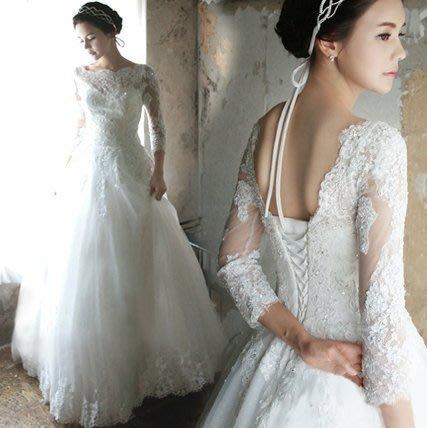 大小姐時尚精品屋~~一字肩中長袖新娘婚紗長禮服~3件免郵