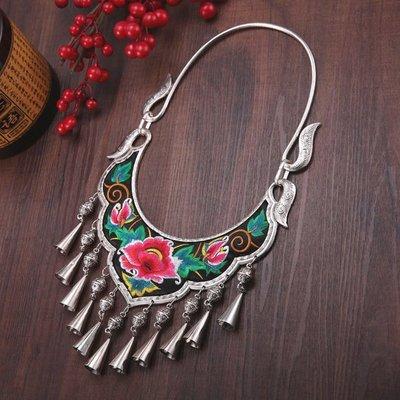 民族風 誇張仿苗銀 刺繡鈴鐺大項圈飾品 表演飾品